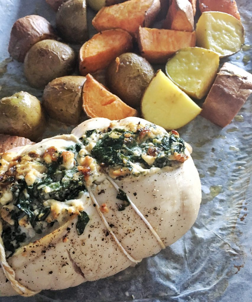 Krinos Feta and Spinach Stuffed Chicken with Roasted Potatoes