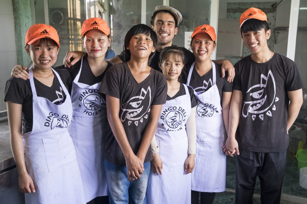 Andres Carilles and the Dingo Deli Team in Hoi An
