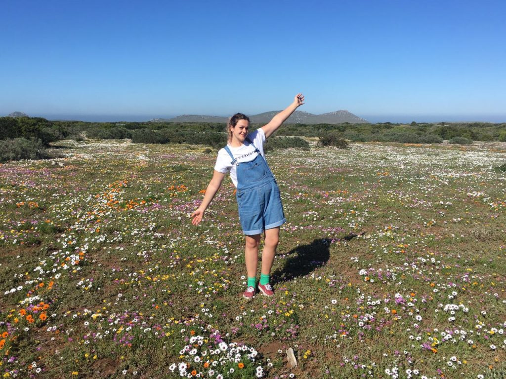 Camilla amongst the wildflowers in West Coast National Park
