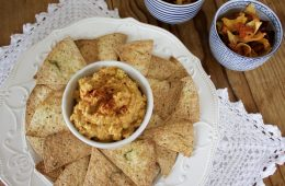 Roasted Butternut Hummus with Chips and Pita
