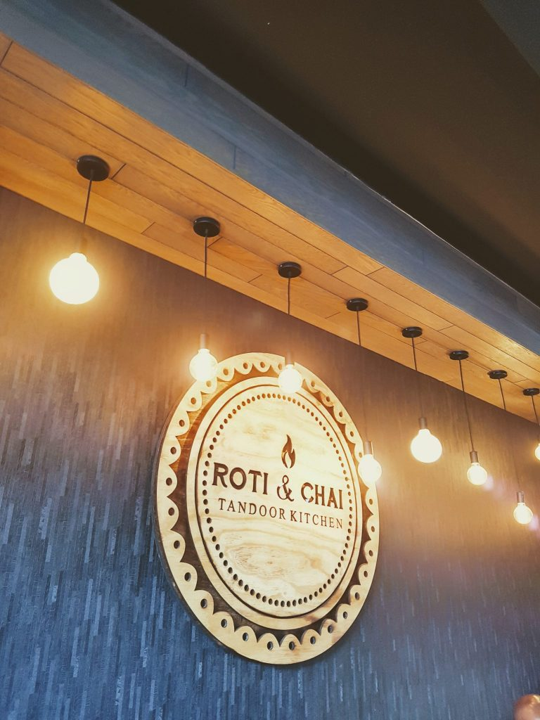 Roti and Chai sign in Durban, South Africa